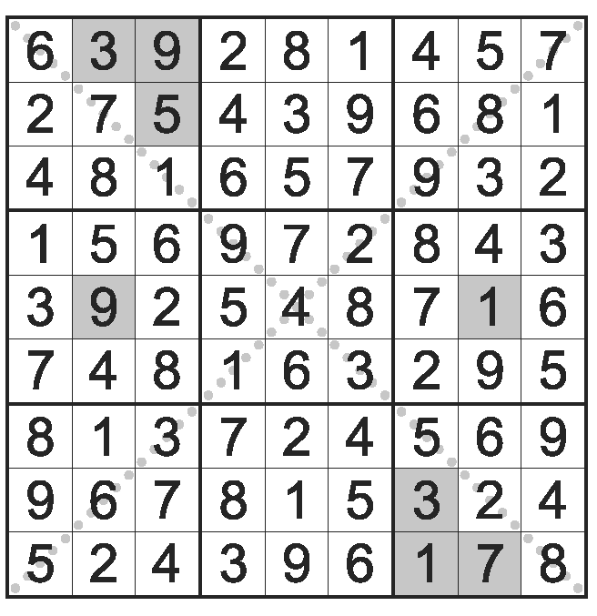 image about Jigsaw Sudoku Printable known as Diagonal Jigsaw Sudoku